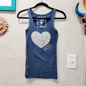 Vintage Pink Silver Sequin Heart Tank Top Size S